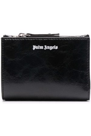 Palm Angels CRINKLE LEATHER ZIP WALLET WHITE