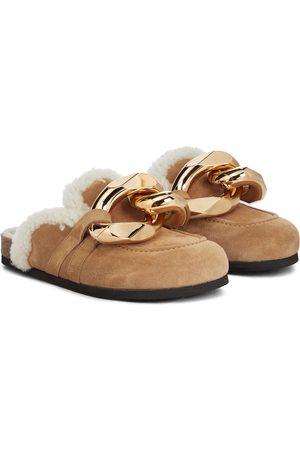 J.W.Anderson Kobieta Kapcie - Embellished shearing and suede slippers