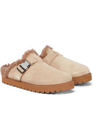 Moncler Kobieta Baleriny - Mon suede and faux shearling slippers