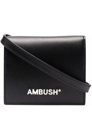 AMBUSH Portmonetki i Portfele - CARD WALLET WITH LEA STRAP SILVER
