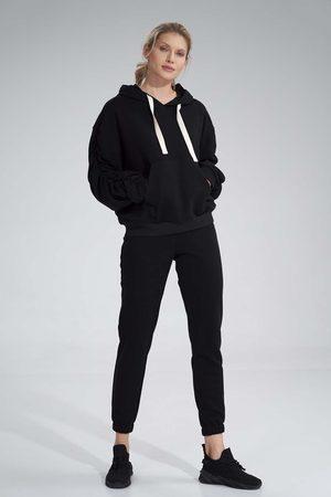 Figl Kobieta Dresy - Klasyczne dresowe spodnie bez kieszeni - czarne