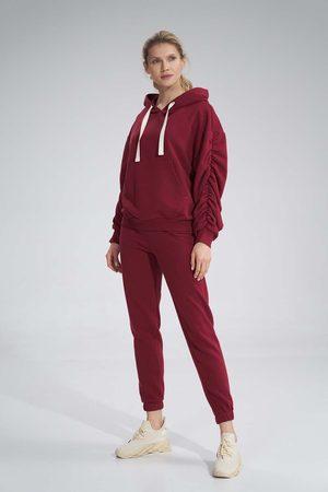 Figl Kobieta Dresy - Klasyczne dresowe spodnie bez kieszeni - bordowe