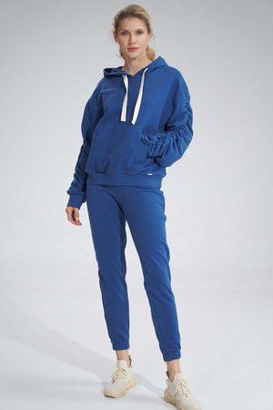Figl Kobieta Dresy - Klasyczne dresowe spodnie bez kieszeni - niebieskie