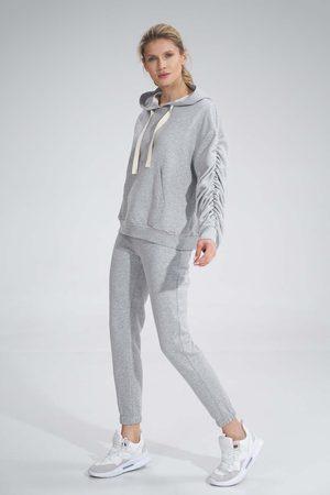Figl Kobieta Dresy - Klasyczne dresowe spodnie bez kieszeni - szare