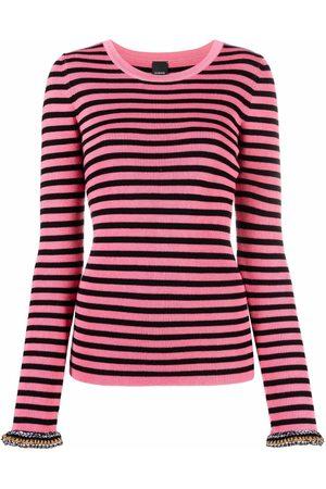 Pinko Kobieta Bransoletki - Contrasting cuffs striped knitted top