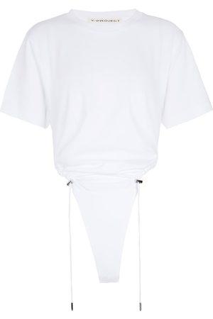 Y / PROJECT Ruched cotton bodysuit