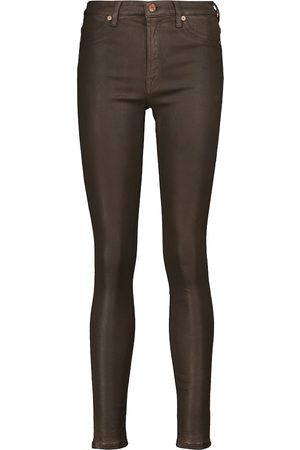 7 for all Mankind Slim Illusion coated high-rise skinny jeans