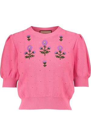 Gucci Embroidered cotton-blend top