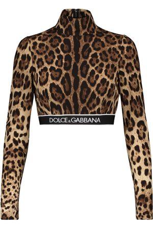 Dolce & Gabbana Leopard-print stretch-silk crop top
