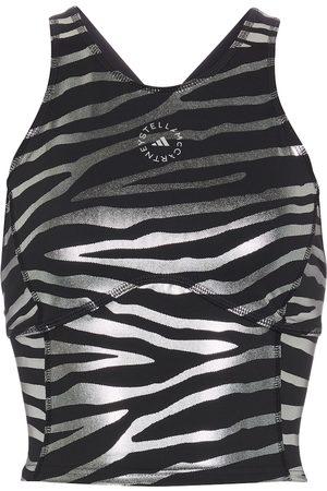 adidas Kobieta Sportowe Topy i T-shirty - Zebra-striped racerback crop top