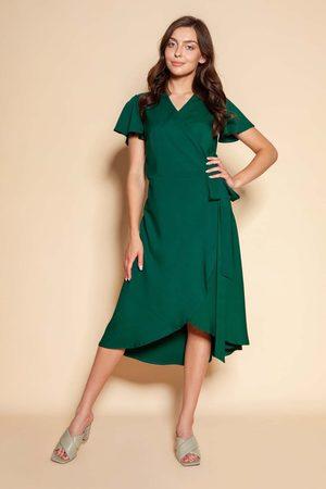 Lanti Kobieta Sukienki koktajlowe i wieczorowe - Kopertowa sukienka z asymetrycznym dołem - zielona