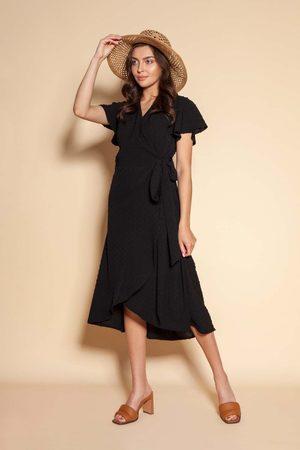 Lanti Kobieta Sukienki koktajlowe i wieczorowe - Kopertowa sukienka z asymetrycznym dołem - czarna