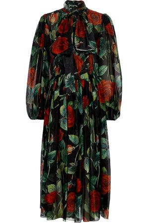 Dolce & Gabbana Kobieta Sukienki z nadrukiem - Floral silk maxi dress