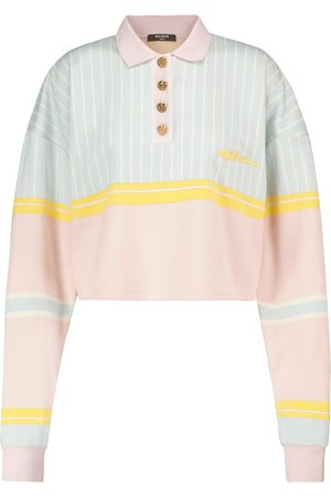 Balmain Striped cotton crop top