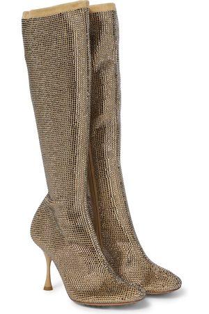 Bottega Veneta Kobieta Botki - Sparkle Dot embellished suede knee-high boots