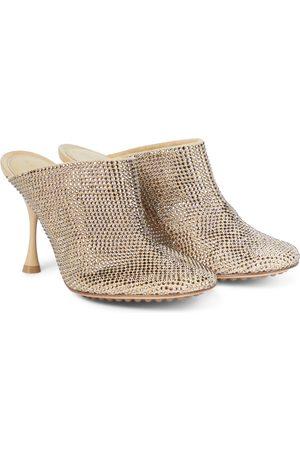 Bottega Veneta Sparkle Dot Sock embellished suede mules