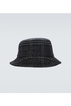 Burberry Kapelusze - Wool and cashmere checked bucket hat