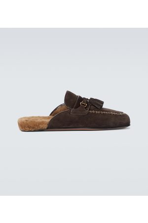 Tom Ford Sandały - Suede and shearling mules