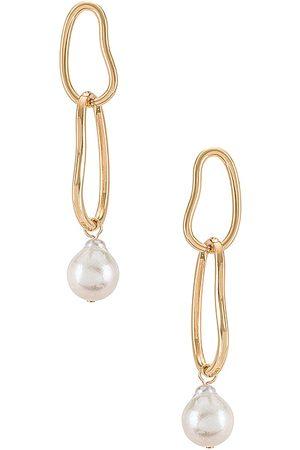 Ettika Pearl Drop Earring in - Metallic . Size all.