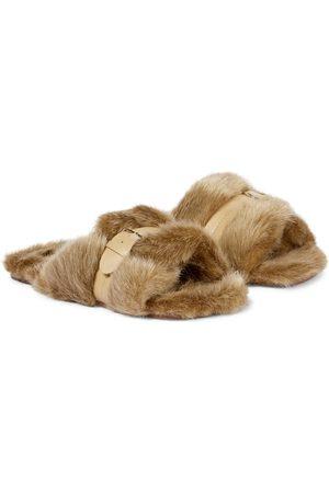 Robert Clergerie Irina leather-trimmed faux fur slides