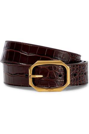 Saint Laurent Mock-croc leather belt