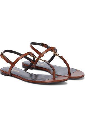 Saint Laurent Cassandra leather thong sandals