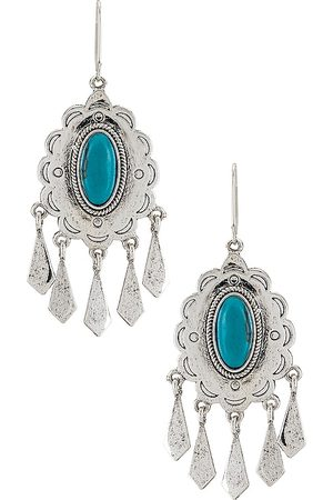 Ettika Turquoise Statement Earrings in - Metallic . Size all.