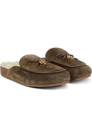 Tory Burch Tory Charm shearling-lined suede slippers