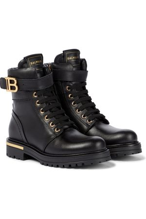Balmain Kids Buckled leather lace-up boots