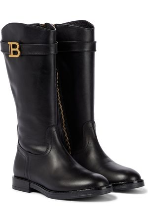 Balmain Kids Buckled leather boots