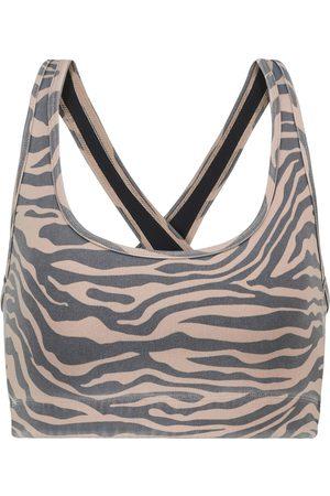 Adam Selman Sport Cross-Back zebra-print sports bra