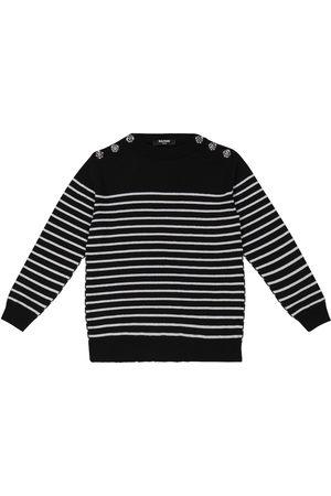 Balmain Kids Striped lamé virgin wool sweater