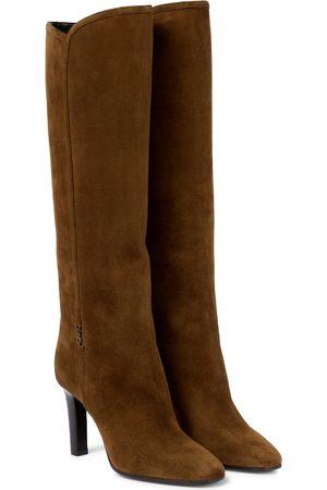 Saint Laurent Kobieta Botki - Jane 90 suede knee-high boots