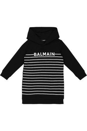 Balmain Kids Sequined hooded cotton dress