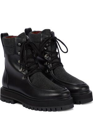 Loro Piana Lomond leather and cashmere combat boots