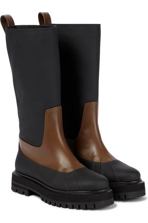 Loro Piana Regent leather and cashmere ankle boots