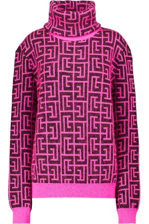 Balmain Logo merino-blend turtleneck sweater