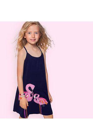 Endo Sukienki letnie - Letnia sukienka na ramiączkach, z flamingami, granatowa, 9-13 lat