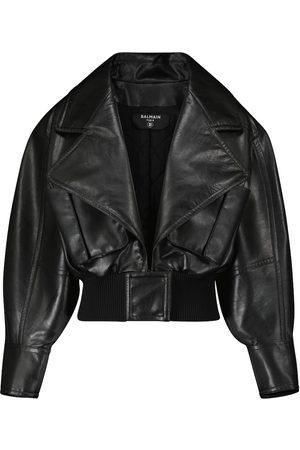 Balmain Kobieta Kurtki skórzane - Cropped faux leather jacket
