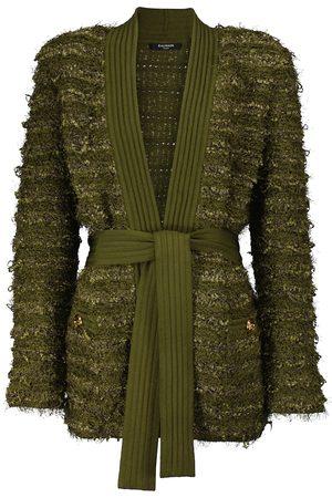 Balmain Belted tweed longline cardigan