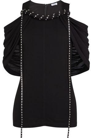 Loewe Cold-shoulder crêpe jersey top