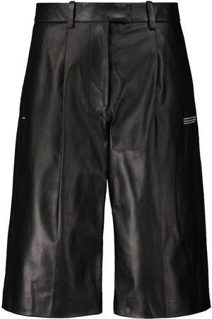OFF-WHITE Kobieta Bermudy - High-rise leather Bermuda shorts