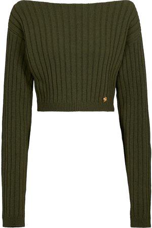 Balmain Cropped wool-blend sweater