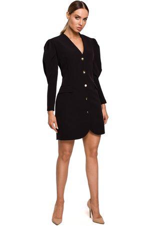MOE Kobieta Sukienki koktajlowe i wieczorowe - Krótka sukienka żakietowa z bufiastym rękawem - czarna