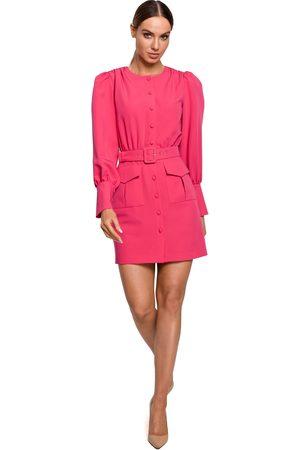 MOE Kobieta Sukienki koktajlowe i wieczorowe - Szykowna sukienka na guziki z kieszeniami - różowa
