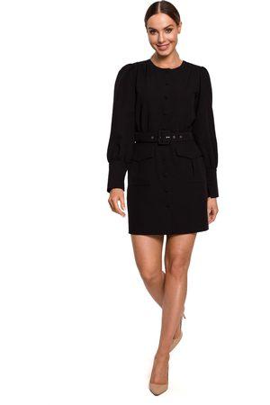 MOE Kobieta Sukienki koktajlowe i wieczorowe - Szykowna sukienka na guziki z kieszeniami - czarna