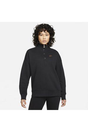 Nike Kobieta Bluzy sportowe - Damska dzianinowa bluza z zamkiem 1/4 Sportswear - Czerń