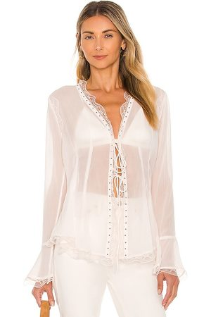 Free People Galaxy Studded Top in - Ivory. Size L (also in XS, S, M).