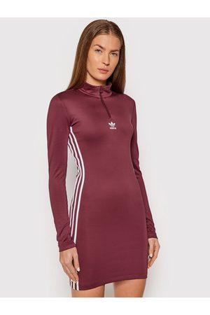 adidas Sukienka codzienna adicolor Classics H35617 Bordowy Slim Fit