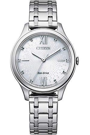 Citizen Damski analogowy zegarek Eco-Drive z bransoletką ze stali szlachetnej EM0500-73A